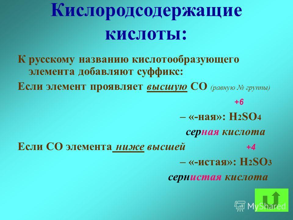 Кислородсодержащие кислоты: К русскому названию кислотообразующего элемента добавляют суффикс: Если элемент проявляет высшую СО (равную группы) +6 – «-ная»: H 2 SO 4 серная кислота Если СО элемента ниже высшей +4 – «-истая»: H 2 SO 3 сернистая кислот
