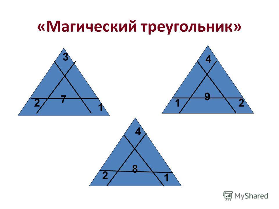 «Магический треугольник» 7 9 8 3 2 1 4 12 4 2 1