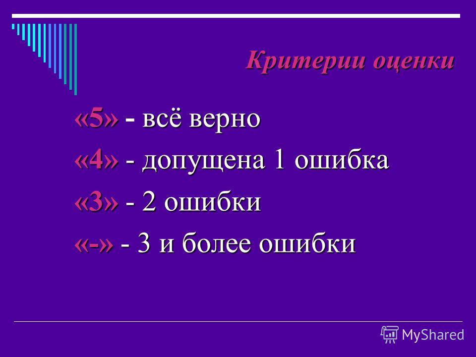 «5»всё верно «5» - всё верно «4» - допущена 1 ошибка «3» - 2 ошибки «-» - 3 и более ошибки Критерии оценки