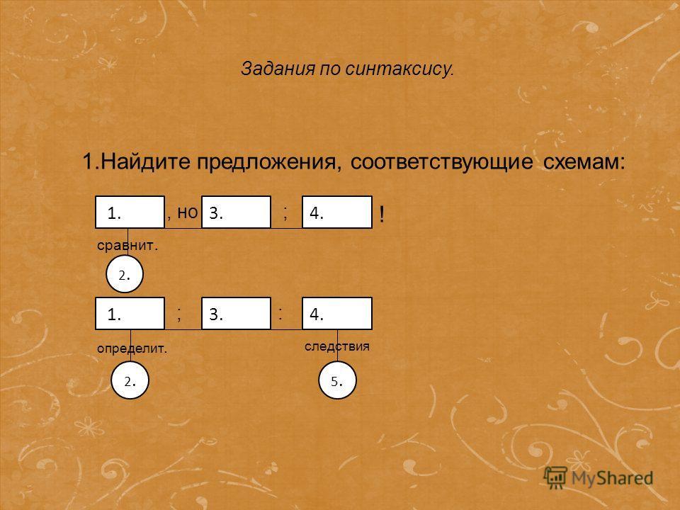 Грамматические задания 1.Найдите предложения, соответствующие схемам: 1.3.4. 2.2., но ; ! сравнит. 1.3.4. 2.2. ; : 5.5. определит. следствия Задания по синтаксису.