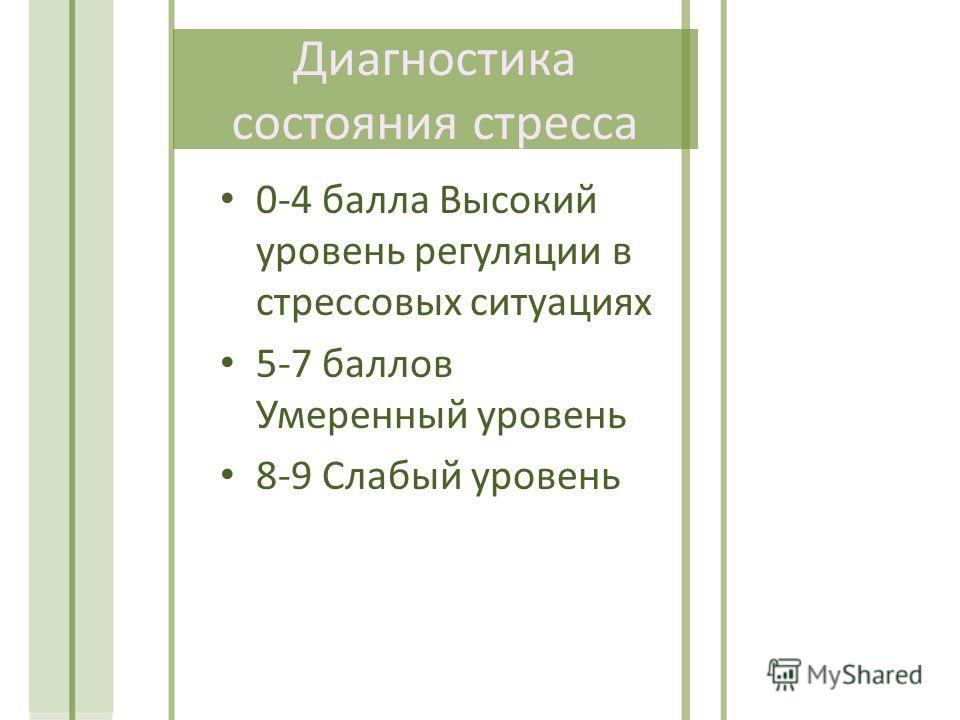 Диагностика состояния стресса 0-4 балла Высокий уровень регуляции в стрессовых ситуациях 5-7 баллов Умеренный уровень 8-9 Слабый уровень