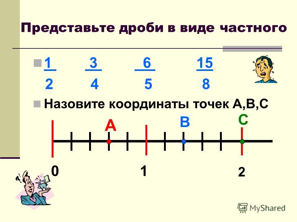 Представьте дроби в виде частного 1 3 6 15 2 4 5 8 Назовите координаты точек А,В,С 01 2 А В С