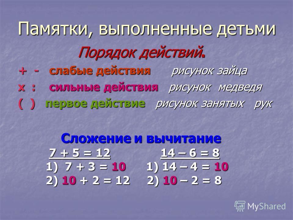 Памятки, выполненные детьми Порядок действий. Порядок действий. + - слабые действия рисунок зайца х : сильные действия рисунок медведя ( ) первое действие рисунок занятых рук Сложение и вычитание Сложение и вычитание 7 + 5 = 12 14 – 6 = 8 7 + 5 = 12
