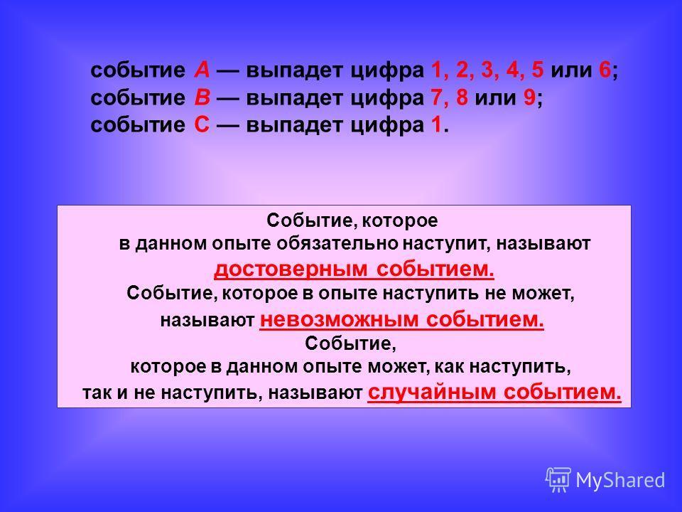 событие А выпадет цифра 1, 2, 3, 4, 5 или 6; событие В выпадет цифра 7, 8 или 9; событие С выпадет цифра 1. Событие, которое в данном опыте обязательно наступит, называют достоверным событием. Событие, которое в опыте наступить не может, называют нев