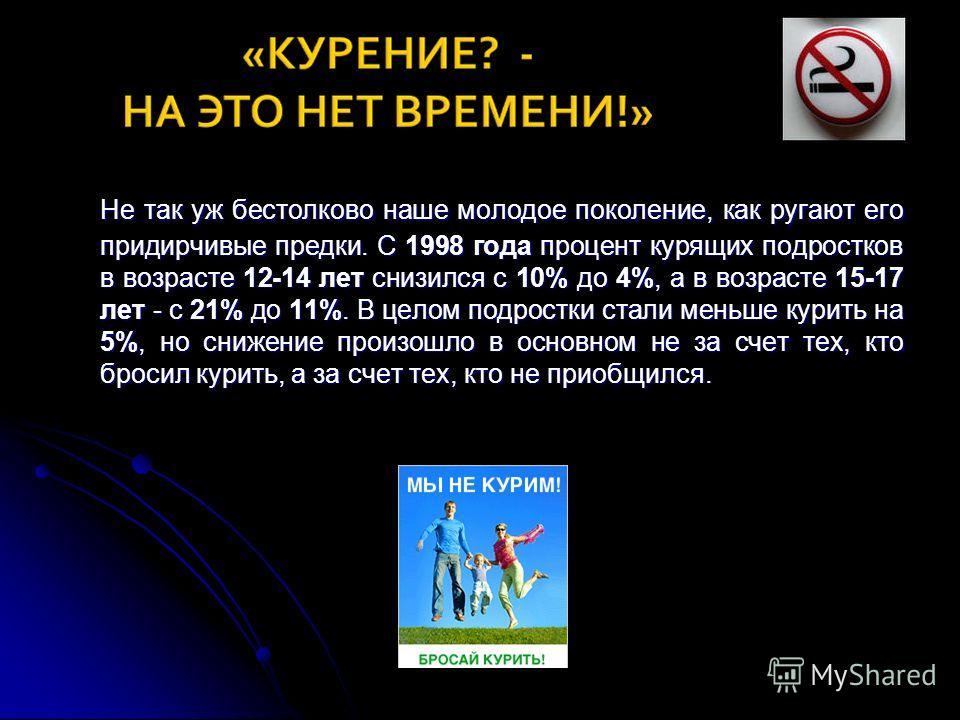 Не так уж бестолково наше молодое поколение, как ругают его придирчивые предки. С 1998 года процент курящих подростков в возрасте 12-14 лет снизился с 10% до 4%, а в возрасте 15-17 лет - с 21% до 11%. В целом подростки стали меньше курить на 5%, но с