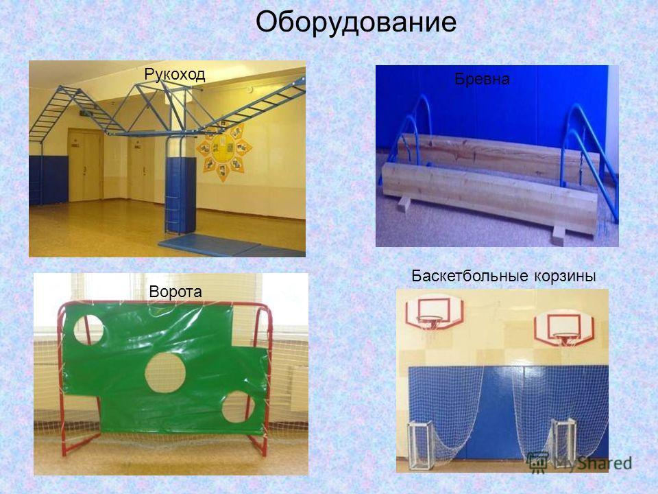 Оборудование Баскетбольные корзины Ворота Рукоход Бревна
