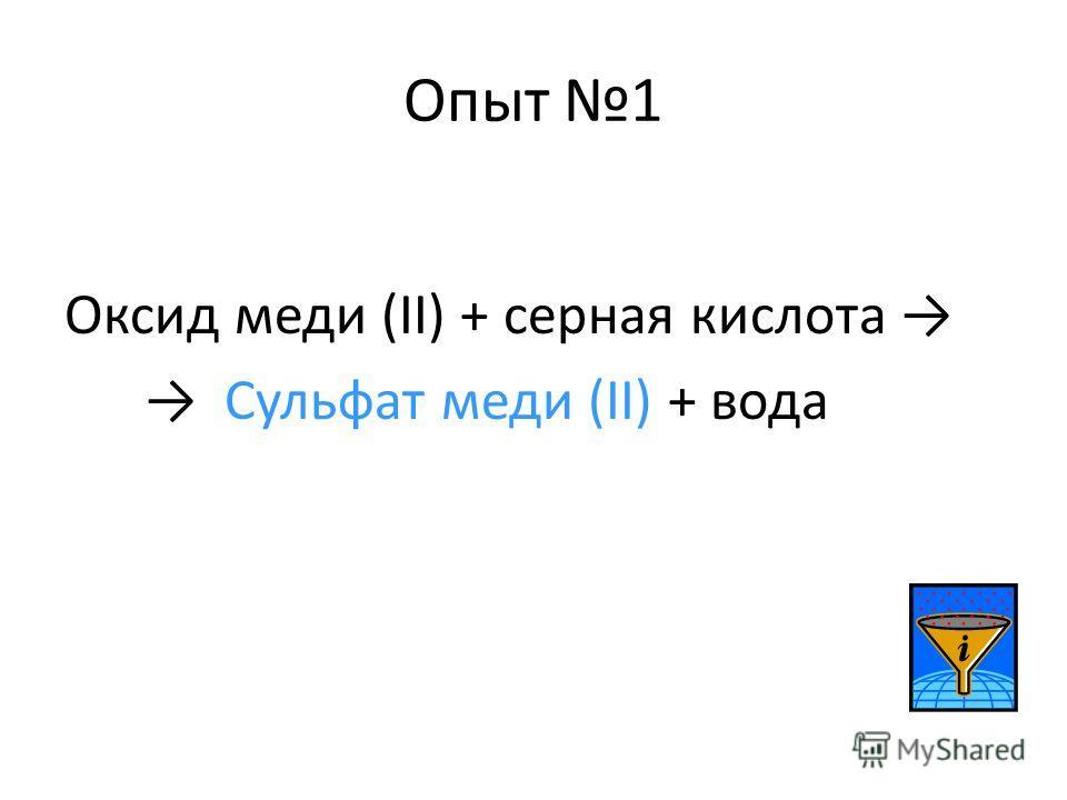 Опыт 1 Оксид меди (II) + серная кислота Сульфат меди (II) + вода