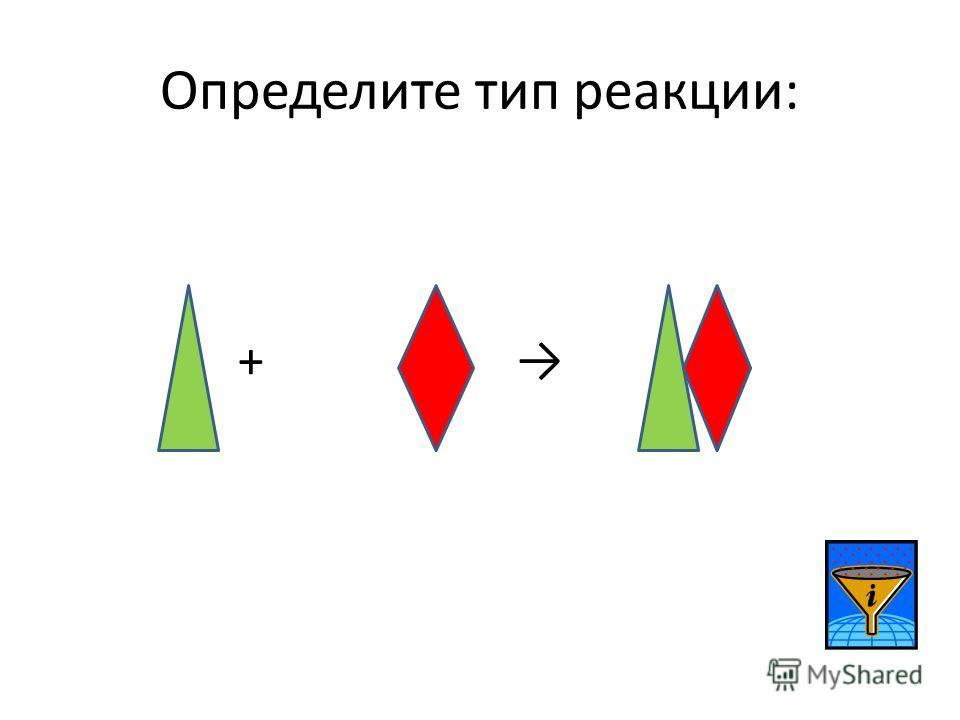 Определите тип реакции: +