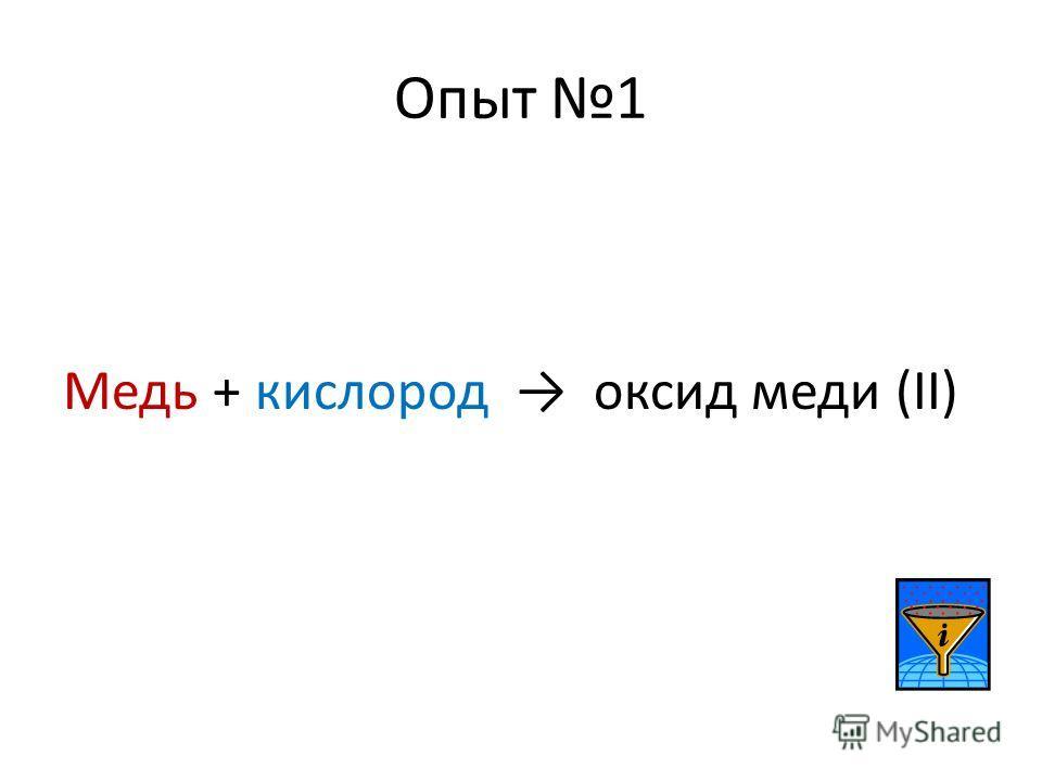 Опыт 1 Медь + кислород оксид меди (II)