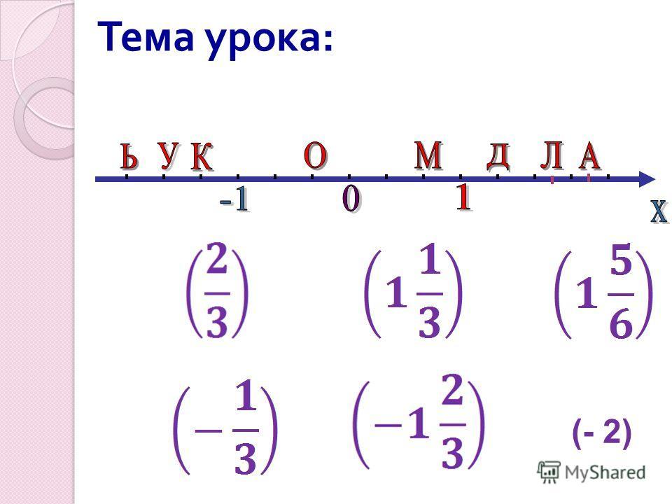 Тема урока : (- 2)