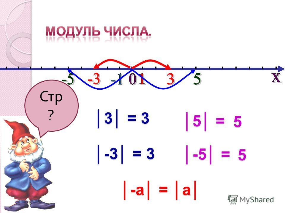 Стр ? 3 = 3 -3 = 3 5 = 5 -5 = 5 -а = а