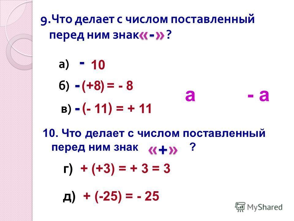 «-»«-»«-»«-» 9. Что делает с числом поставленный перед ним знак ? 10 - +8( ) - = - 8 а)а) б)б) в)в) ( ) - 11 - = + 11 10. Что делает с числом поставленный перед ним знак ? «+»«+»«+»«+» г) + (+3) = + 3 = 3 д) + (-25) = - 25 а- а