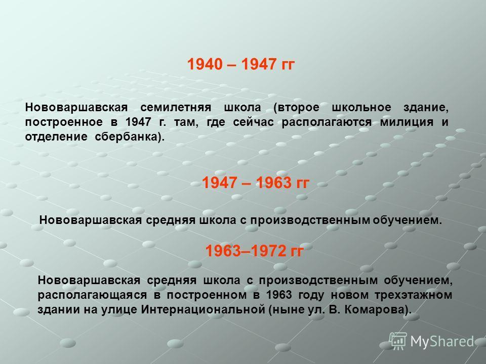 1940 – 1947 гг Нововаршавская семилетняя школа (второе школьное здание, построенное в 1947 г. там, где сейчас располагаются милиция и отделение сбербанка). 1947 – 1963 гг Нововаршавская средняя школа с производственным обучением. 1963–1972 гг Нововар