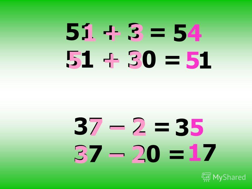 51 + 3 = 51 + 30 = 1 + 354 5 + 351 37 – 2 = 37 – 20 = 7 – 235 3 – 2 17
