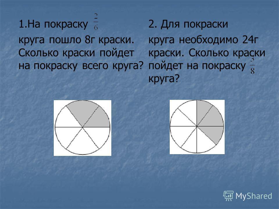 1.На покраску круга пошло 8г краски. Сколько краски пойдет на покраску всего круга? 2. Для покраски круга необходимо 24г краски. Сколько краски пойдет на покраску круга?
