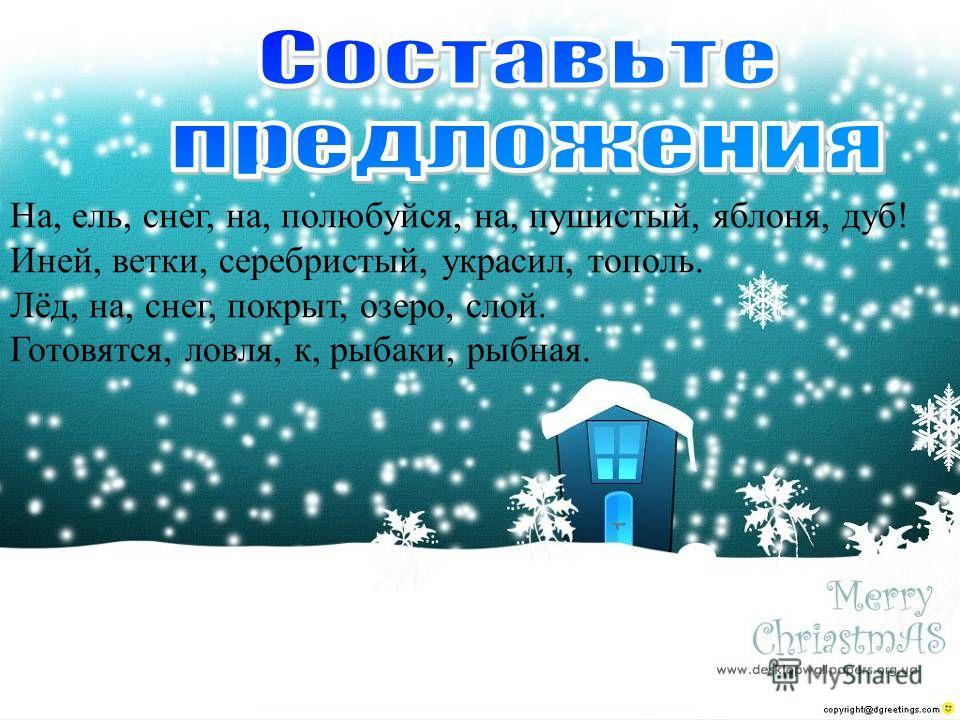 На, ель, снег, на, полюбуйся, на, пушистый, яблоня, дуб! Иней, ветки, серебристый, украсил, тополь. Лёд, на, снег, покрыт, озеро, слой. Готовятся, ловля, к, рыбаки, рыбная.