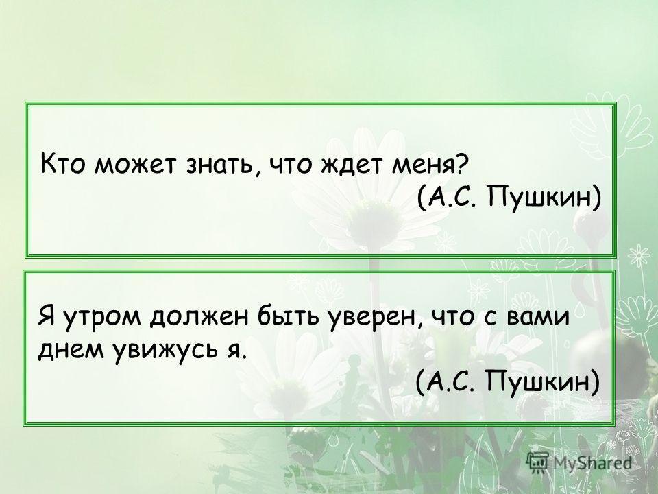 Кто может знать, что ждет меня? (А.С. Пушкин) Я утром должен быть уверен, что с вами днем увижусь я. (А.С. Пушкин)