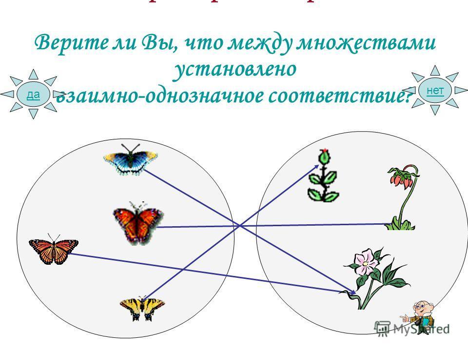 Игра «Верю – не верю» Верите ли Вы, что между множествами установлено взаимно-однозначное соответствие? да нет