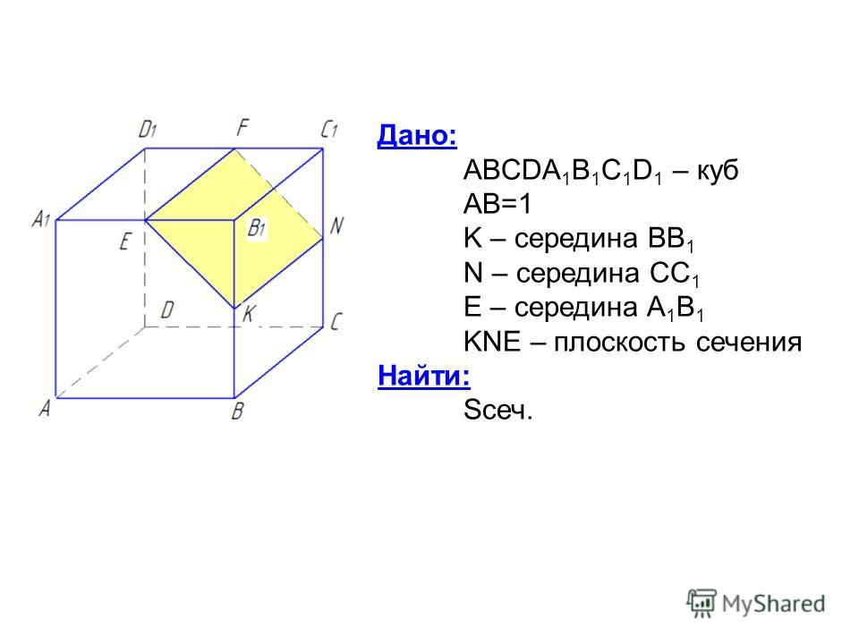 Дано: ABCDA 1 B 1 C 1 D 1 – куб AB=1 K – середина BB 1 N – середина CC 1 E – середина A 1 B 1 KNE – плоскость сечения Найти: Sсеч.