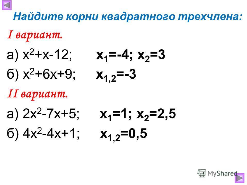 Найдите корни квадратного трехчлена: Ι вариант. а) х 2 +х-12; x 1 =-4; x 2 =3 б) х 2 +6х+9; x 1,2 =-3 ΙΙ вариант. а) 2х 2 -7х+5; x 1 =1; x 2 =2,5 б) 4х 2 -4х+1; x 1,2 =0,5