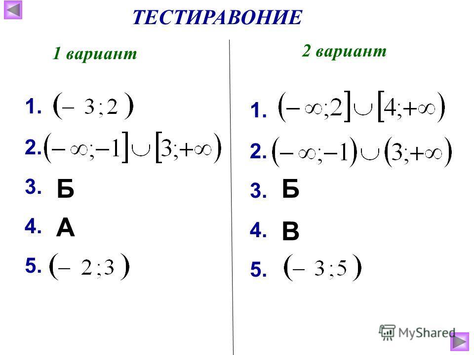 ТЕСТИРАВОНИЕ 1 вариант 2 вариант 1. 2. 3. 4. 5. 1. 2. 3. 4. 5. Б А Б В