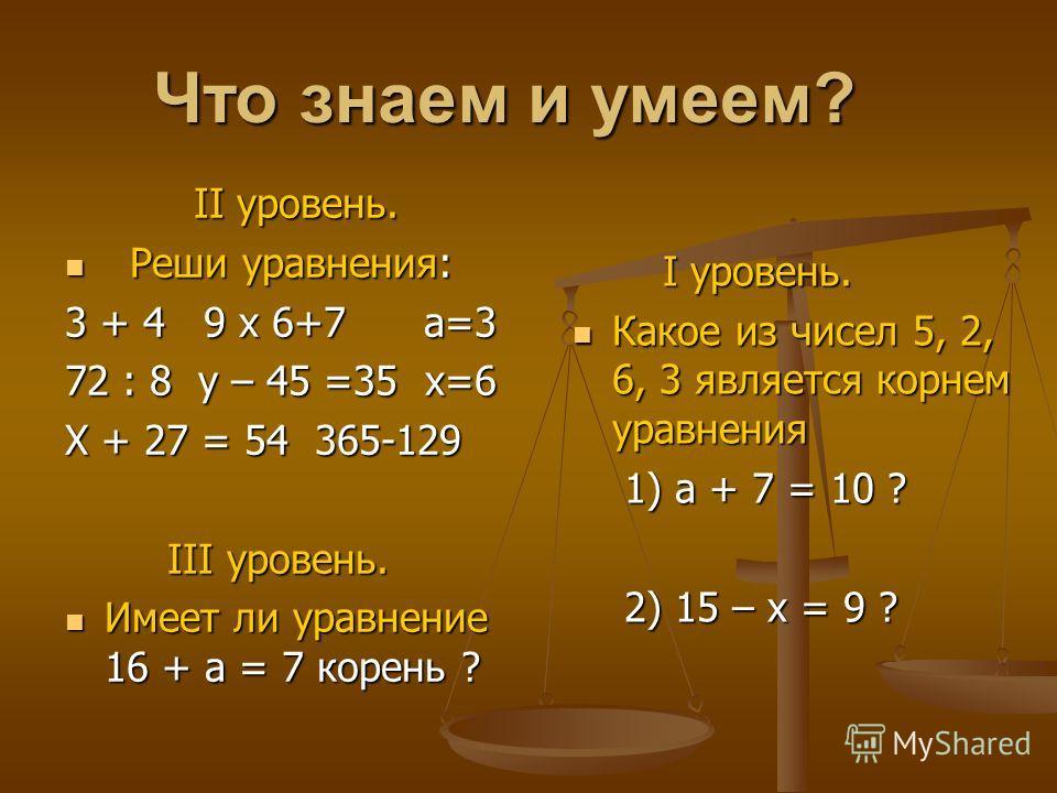 Что знаем и умеем? II уровень. Р Реши уравнения: 3 + 4 9 х 6+7 а=3 72 : 8 у – 45 =35 х=6 Х + 27 = 54 365-129 III уровень. Имеет ли уравнение 16 + а = 7 корень ? I уровень. Какое из чисел 5, 2, 6, 3 является корнем уравнения 1) а + 7 = 10 ? 2) 15 – х