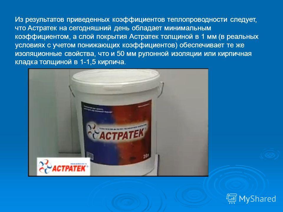Из результатов приведенных коэффициентов теплопроводности следует, что Астратек на сегодняшний день обладает минимальным коэффициентом, а слой покрытия Астратек толщиной в 1 мм (в реальных условиях с учетом понижающих коэффициентов) обеспечивает те ж
