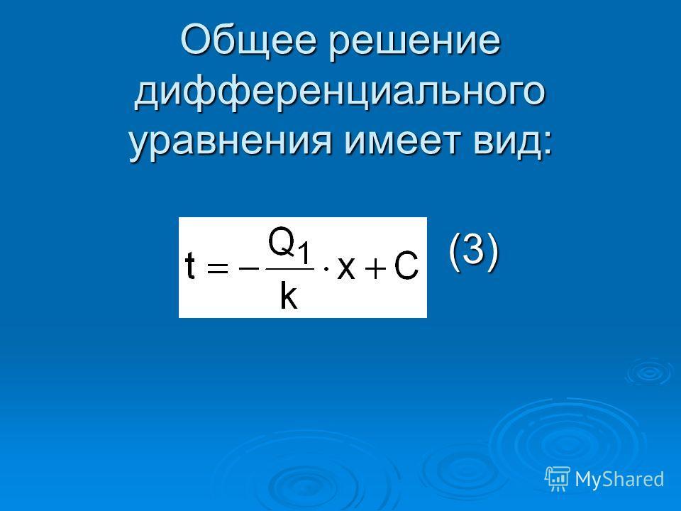 Общее решение дифференциального уравнения имеет вид: (3) (3)
