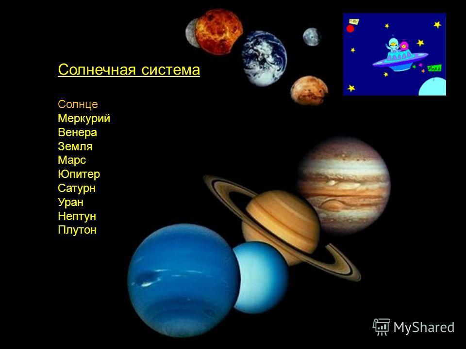 Солнечная система Солнце Меркурий Венера Земля Марс Юпитер Сатурн Уран Нептун Плутон