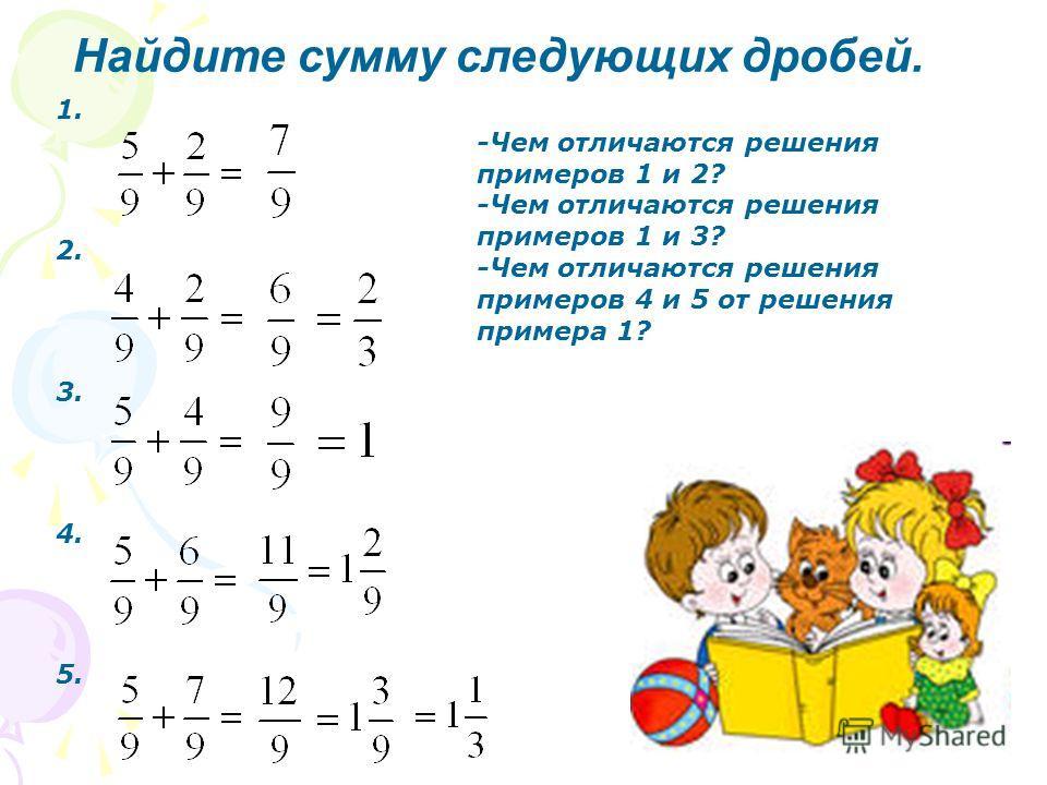Найдите сумму следующих дробей. 1. 2. 3. 4. 5. -Чем отличаются решения примеров 1 и 2? -Чем отличаются решения примеров 1 и 3? -Чем отличаются решения примеров 4 и 5 от решения примера 1?