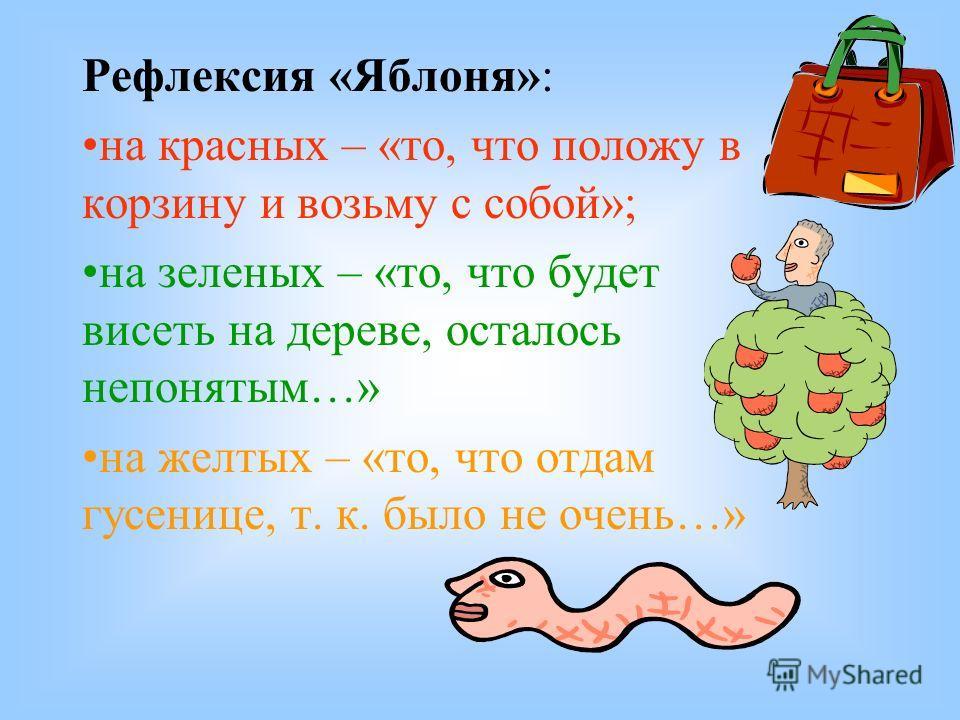 Рефлексия «Яблоня»: на красных – «то, что положу в корзину и возьму с собой»; на зеленых – «то, что будет висеть на дереве, осталось непонятым…» на желтых – «то, что отдам гусенице, т. к. было не очень…»