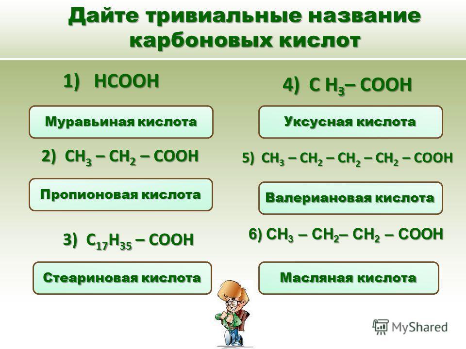 Дайте тривиальные название карбоновых кислот 6)CH 3 – CH 2 – CH 2 – COOH 1) HCOOH 4) С Н 3 – СООН 2) CH 3 – CH 2 – COOH 3) C 17 H 35 – COOH 5) CH 3 – CH 2 – CH 2 – CH 2 – COOH Муравьиная кислота Валериановая кислота Уксусная кислота Масляная кислота