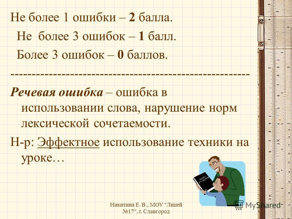Никитина Е. В., МОУ