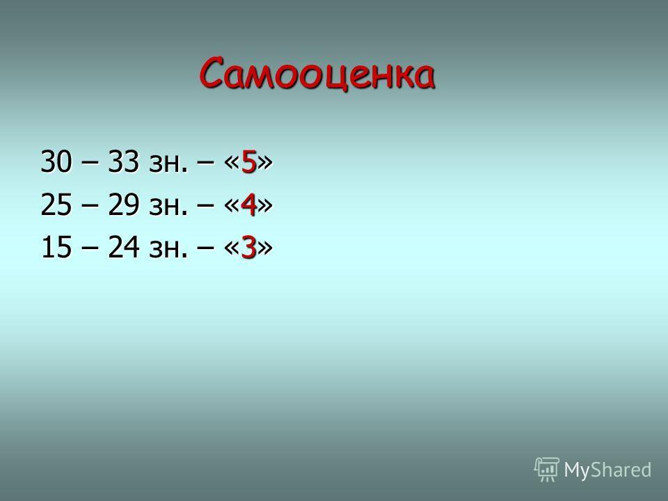 Самооценка Самооценка 30 – 33 зн. – «5» 25 – 29 зн. – «4» 15 – 24 зн. – «3»