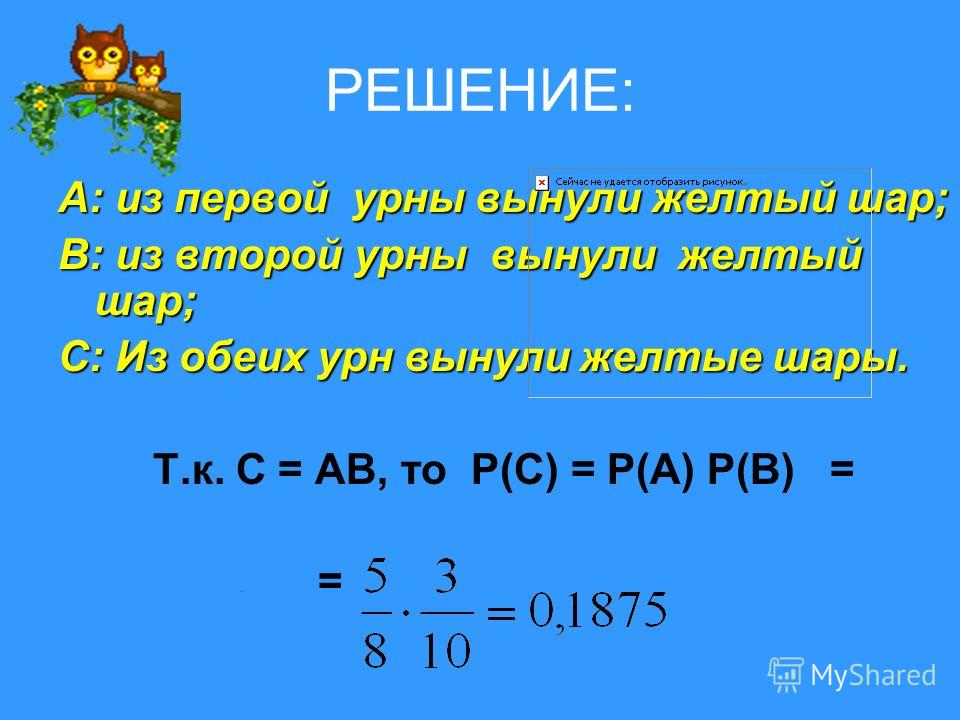 РЕШЕНИЕ: А: из первой урны вынули желтый шар; В: из второй урны вынули желтый шар; С: Из обеих урн вынули желтые шары. Т.к. С = АВ, то Р(С) = Р(А) Р(В) = =