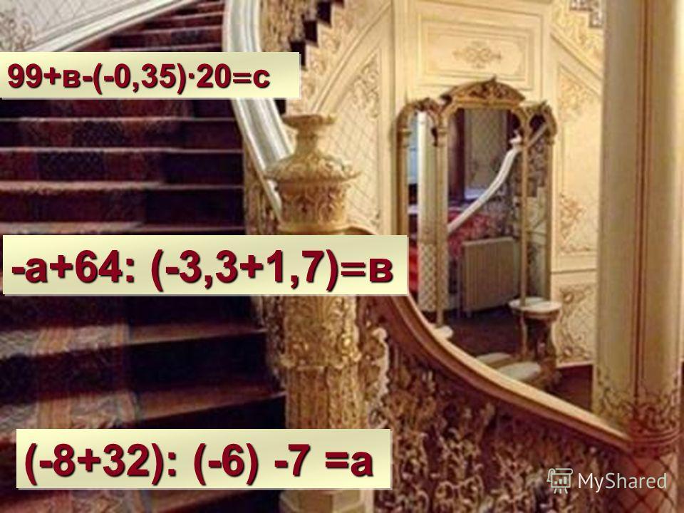 99+в-(-0,35)·20 = с (-8+32): (-6) -7 =а -а+64: (-3,3+1,7) = в