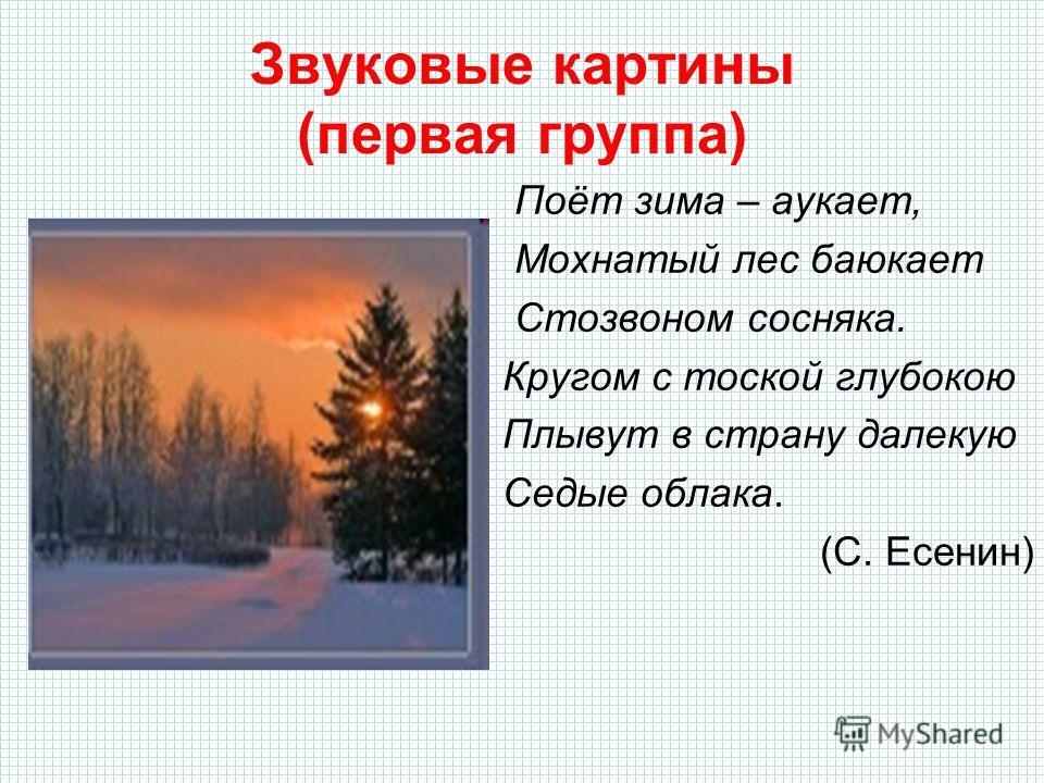 Звуковые картины (первая группа) Поёт зима – аукает, Мохнатый лес баюкает Стозвоном сосняка. Кругом с тоской глубокою Плывут в страну далекую Седые облака. (С. Есенин)