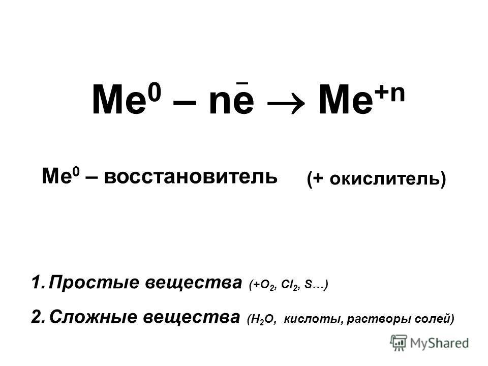 Ме 0 – ne Me +n Ме 0 – восстановитель 1.Простые вещества (+О 2, Сl 2, S…) 2.Сложные вещества (Н 2 О, кислоты, растворы солей) (+ окислитель)