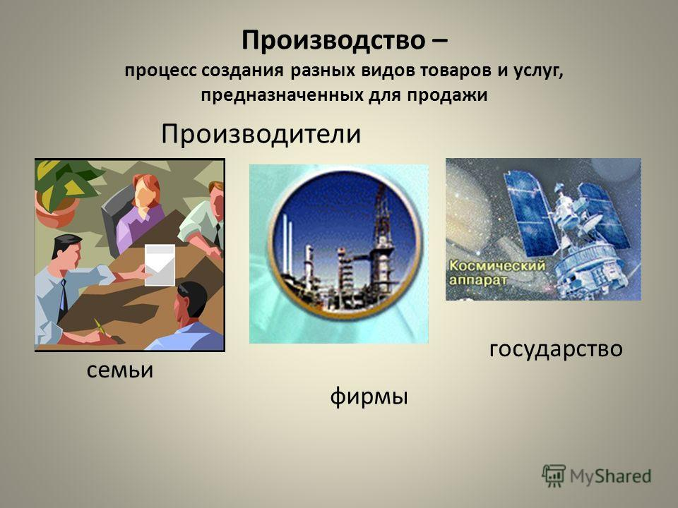 Производство – процесс создания разных видов товаров и услуг, предназначенных для продажи Производители фирмы государство семьи
