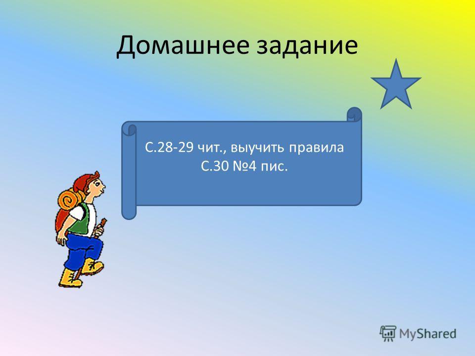 Домашнее задание С.28-29 чит., выучить правила С.30 4 пис.