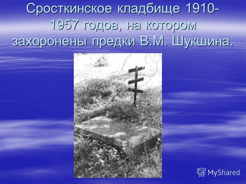 Сросткинское кладбище 1910- 1957 годов, на котором захоронены предки В.М. Шукшина.