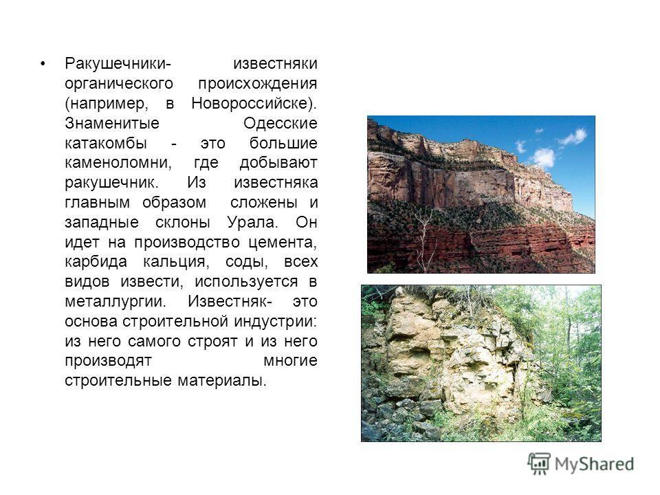 Ракушечники- известняки органического происхождения (например, в Новороссийске). Знаменитые Одесские катакомбы - это большие каменоломни, где добывают ракушечник. Из известняка главным образом сложены и западные склоны Урала. Он идет на производство