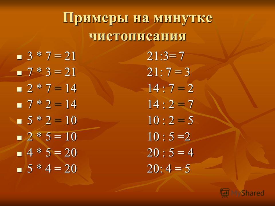 Примеры на минутке чистописания 3 * 7 = 21 21:3= 7 3 * 7 = 21 21:3= 7 7 * 3 = 21 21: 7 = 3 7 * 3 = 21 21: 7 = 3 2 * 7 = 14 14 : 7 = 2 2 * 7 = 14 14 : 7 = 2 7 * 2 = 14 14 : 2 = 7 7 * 2 = 14 14 : 2 = 7 5 * 2 = 10 10 : 2 = 5 5 * 2 = 10 10 : 2 = 5 2 * 5