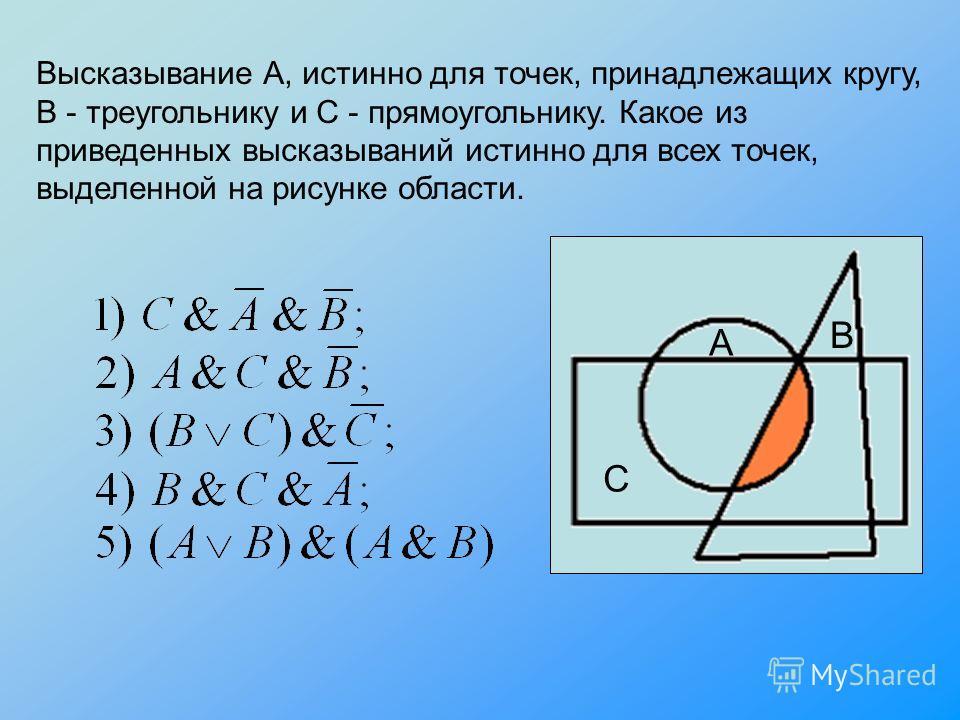 Высказывание А, истинно для точек, принадлежащих кругу, В - треугольнику и С - прямоугольнику. Какое из приведенных высказываний истинно для всех точек, выделенной на рисунке области. А В С