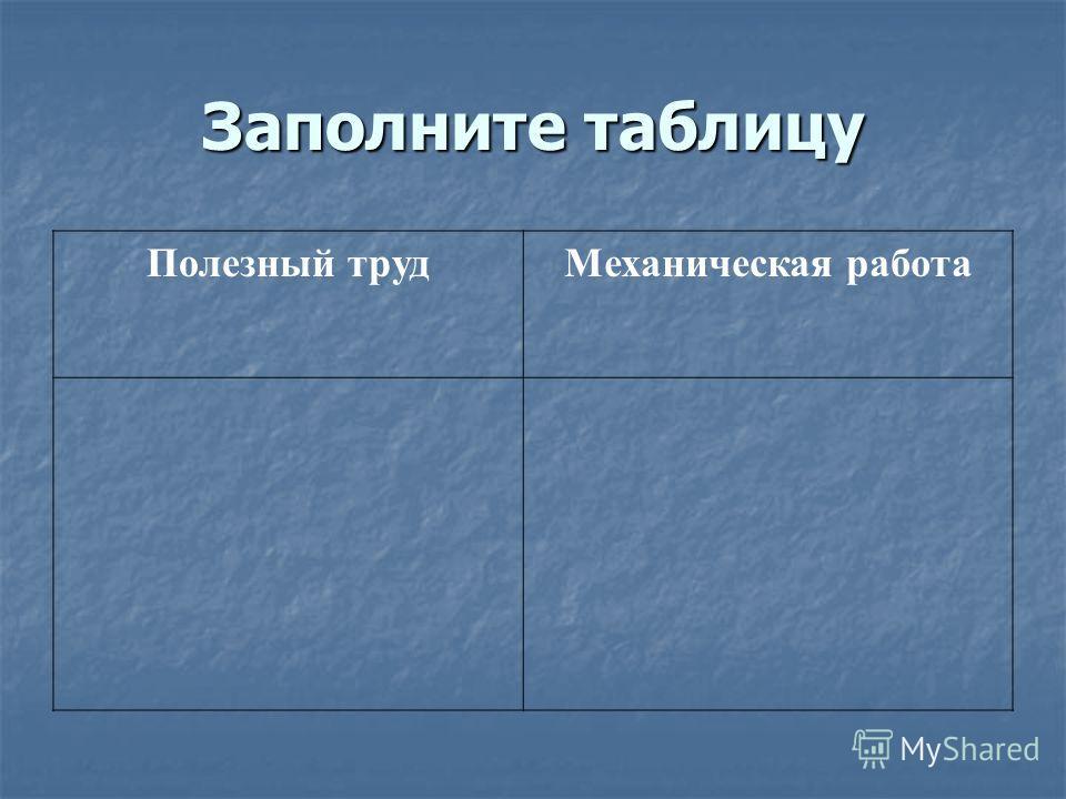 Заполните таблицу Полезный трудМеханическая работа