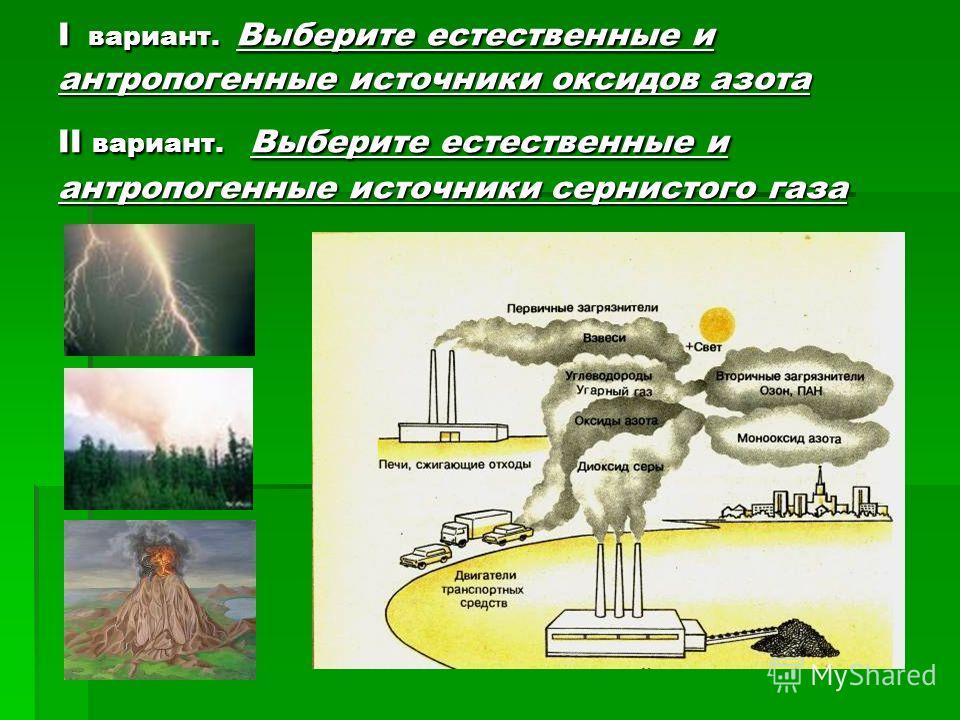 I вариант. Выберите естественные и антропогенные источники оксидов азота II вариант. Выберите естественные и антропогенные источники сернистого газа