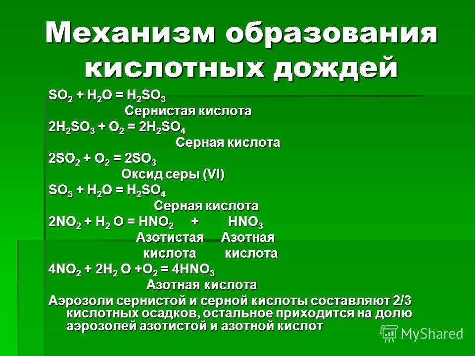 Механизм образования кислотных дождей SO 2 + H 2 O = H 2 SO 3 Сернистая кислота Сернистая кислота 2H 2 SO 3 + O 2 = 2H 2 SO 4 Серная кислота Серная кислота 2SO 2 + O 2 = 2SO 3 Оксид серы (VI) Оксид серы (VI) SO 3 + H 2 O = H 2 SO 4 Серная кислота Сер