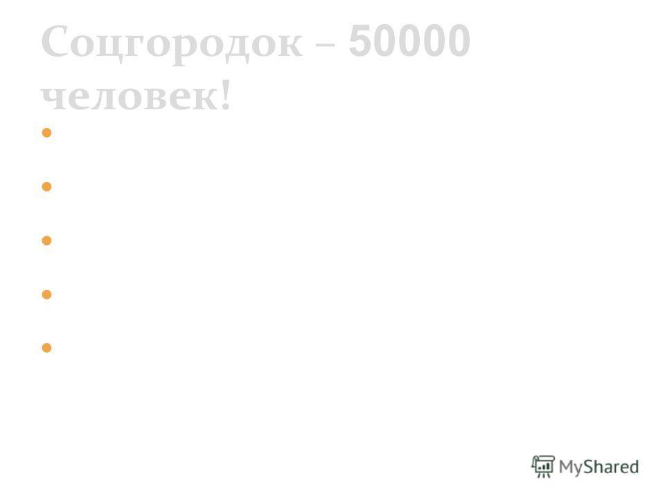Улицы города Школа на 200 учащихся Клуб Магазин Баня Соцгородок – 50000 человек!