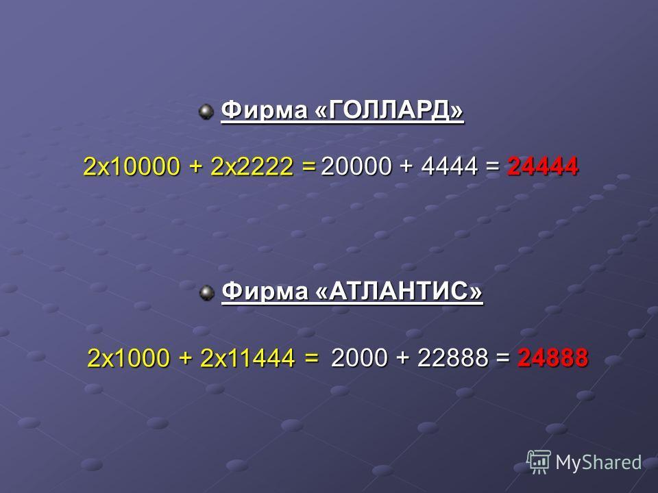 2х10000 + 2х2222 = 20000 + 4444 = 24444 2х1000 + 2х11444 = 2000 + 22888 = 24888 Фирма «ГОЛЛАРД» Фирма «АТЛАНТИС»
