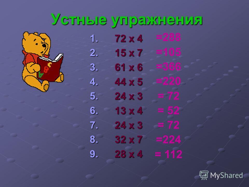 Устные упражнения 1. 72 х 4 2. 15 х 7 3. 61 х 6 4. 44 х 5 5. 24 х 3 6. 13 х 4 7. 24 х 3 8. 32 х 7 9. 28 х 4 =288 =105 =366 =220 = 72 = 52 = 72 =224 = 112